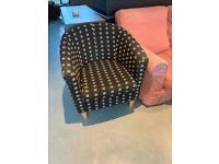 Two tub chairs - dark grey pokadot light and dark brown spots