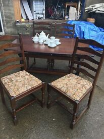 STUNNING PRIORY STYLE TABLE AND FOUR HIGH BACKED CHAIRS.