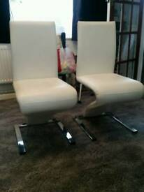 2 off white dining chairs