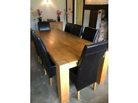Large 8ft Solid Oak Dining Table and chairs