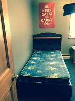 Twin navy and oak bed and mattress