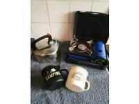 Camping cooker,Kettle & enamel mugs. (TENT/FISHING)