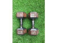 17.5kg cast iron Hex dumbell set