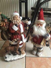 Santa decorations ornaments x2 BRAND NEW