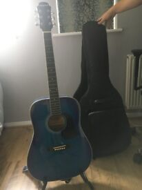 Guitar, case and stand