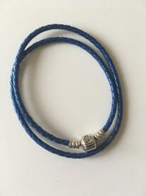 Pandora blue leather bracelet