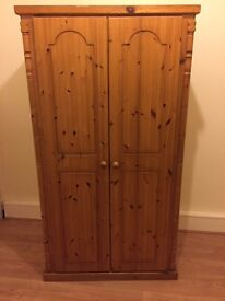 Pine Double Wardrobe, like new! Selling as moving house and no room for it. Pick up only, £50.