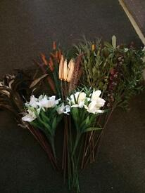 Artificial grass flowers and feathers