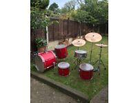 Pearl drum kit with sabian symbols