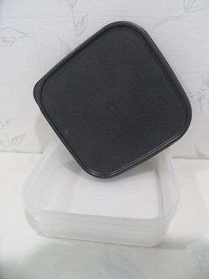 (NEW Tupperware MODULAR MATE Square 1 Container BLACK Lid Seal SHEER CLEAR BASE)