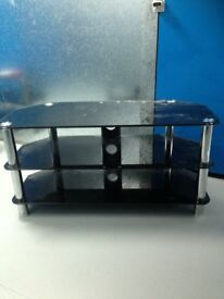 BLACK GLASS WITH CHROME SUPPORTS MEDIA TV STAND