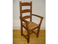 Oak Beech Dining Chair Ladder Back Rush Seat with arm rests