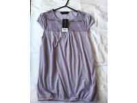 Lilac Lace T-shirt Dorothy Perkins Size 8 Brand New With Tags