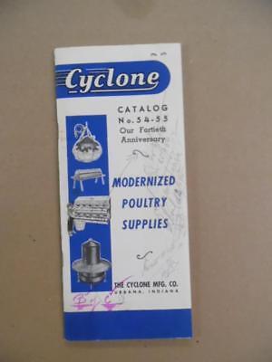 1954 Cyclone Mfg Co. Poultry Equipment Catalog Urbana Indiana Vintage Original