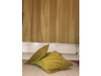 Brand New Ochre GOLD coloured Curtains 66x72 and 4 as new 50x50 Ochre Cushion Covers Will post