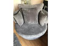 Grey Swivel cuddler chair