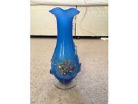Vintage Blue Opaline Bohemian Glass Vase