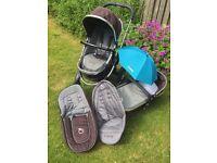 I Candy Peach Pram/ Carrycot & Pushchair/buggy/stroller (Black Jack model)
