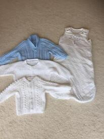 3 Beautiful hand knitted cardigans & Disney sleeping bag excellent condition