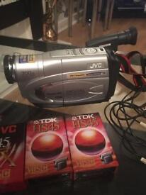 JVC Compact VHS Camcorder with accessories