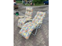 Pair of sun lounger chairs