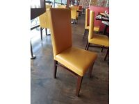 150no. Sapele Solid Wood Dining Chairs - 'Shelly' Leather Upholstery MUST SEE!!