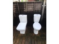 Off White Ceramic Toilet WC Bathroom Pan with Cistern and Seat