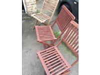 3 fold out garden chairs.
