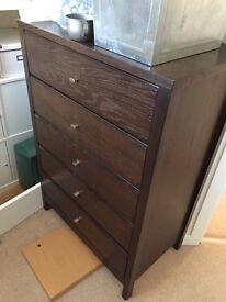 Dark brown bedroom furniture, 1 x large drawer unit, 2 x bedside units