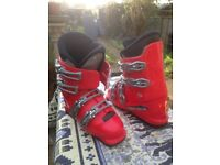 Childs Red Salomon ski boots. UK size 4.5 - 5 for sale.