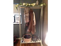 "Wooden ""shabby chic"" clothes rail, dimensions 165cm x 87cm painted in light grey chalk paint"