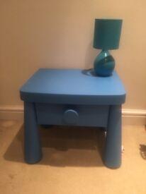 Aqua blue bed side cabinet