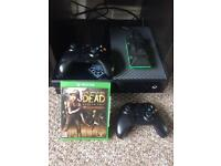 Xbox one, two controllers, charger and games