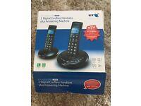 BT digital cordless handsets plus answering machine