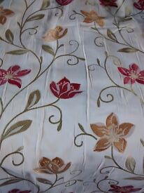 Beautiful beige, red, green and gold fully lined curtains