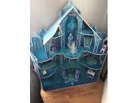 Wooden frozen castle dolls house playhouse