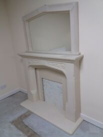 Immaculate stone fireplace and matching mirror ..great price for quick sale