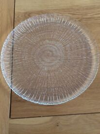 Glass Cake Plate and Large Glass Serving Plate/Bowl