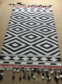 Oka navy and cream killim Rug with tassels