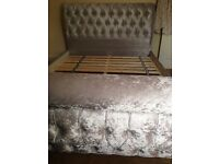 Chesterfield crushed velvet king size bed