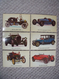 6 Collectors Reproductions car postcards-Model T Ford;Stanley Steam Car;Rolls-Royce Silver Ghost,etc