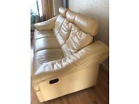 Barker & Stonehouse leather reclining sofa & armchair - Custard Cream