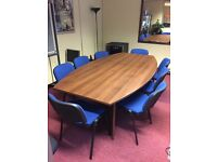 Excellent condition wooden conference room table and 10 chairs