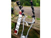 Towbar mounted 3 cycle carrier, includes spanner, lighting board.Good condition. Buyer must collect.