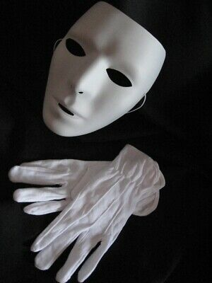 Male Masks (Blank Mask & Gloves White Mtvs Dance Crew Mime Artist Male Costume Accessory)