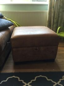 Real leather footstool with storage