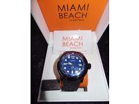 Glam Rock Men's MB26015 Miami Beach Rescue Team Blue Dial Black Silicone Watch/New