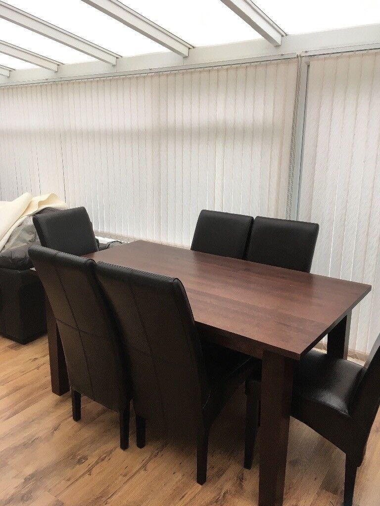 John Lewis REDUCED PRICE 6ft extendable dark wood dining table and 6 matching chocolate brown chairs