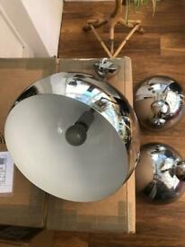 Contemporary mirror pendant light fixture x3