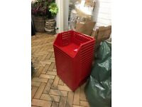 18 x Red storage / toy / tool / arts& craft / food stackable crates. GREAT conditions, used once